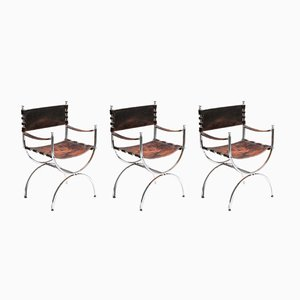 Leather and Chrome Savonarola Emperor Chairs by Maison Jansen, 1970s, Set of 3