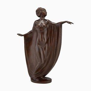 Escultura modernista antigua de bronce de una bailarina desnuda drapeada de Theodor Stundl para Foundry