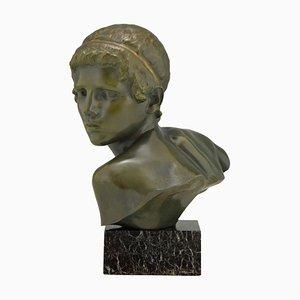 Art Deco Bronze Büste eines jungen Achilles von Constant Roux, 1920er