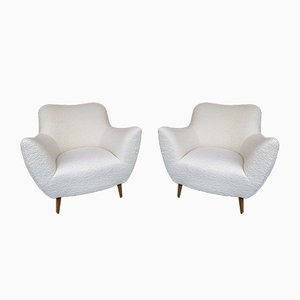 Bouclé Fabric Italian Lounge Chairs by Guglielmo Veronesi, 1950s, Set of 2