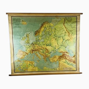 Vintage Dutch School First Map of Europe by Kwast & Zeeman for J.B. Wolters, 1950s