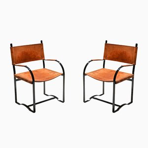 Mid-Century Modern Cognac Leather Armchairs, 1960s, Set of 2