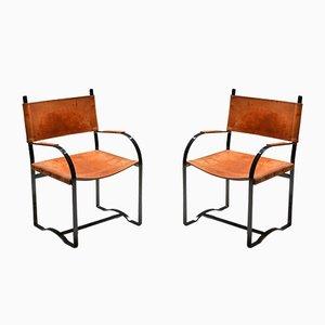 Mid-Century Modern Cognac Leather Armchairs, 1960s, Set of 2