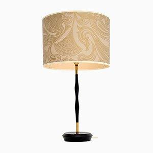 Vintage Ebonised Wood & Brass Table Lamp, 1960s