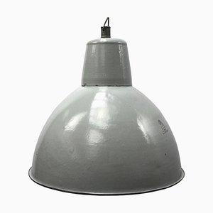 Lampe à Suspension Mid-Century Vintage Industrielle en Émail Gris
