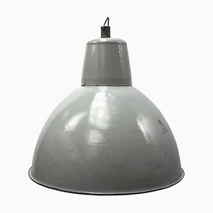 Mid-Century Vintage Industrial Grey Enamel Pendant Light