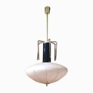 Ceiling Lamp With Pink & Black Murano Glass and Brass Structure, 1960s