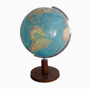Mappamondo vintage in vetro con luce di Paul Oestergaard per Columbus, anni '50