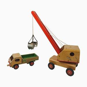 Vintage Wooden Children's Toy Crane and Truck, Set of 2