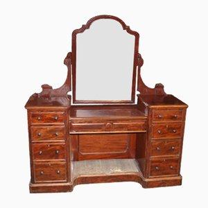 Viktorianischer Frisiertisch aus Mahagoni mit zentralem Spiegel