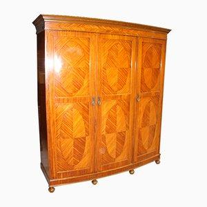 Antique 3-Door Satin Walnut Combination Wardrobe, 1900s