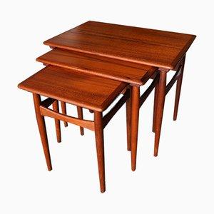 Mid-Century Vintage Teak & Rosewood Nest of Tables, 1960s, Set of 3