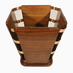 Modernist Wooden & Copper Paper Bin by Jacques-Emile Ruhlmann, 1920s