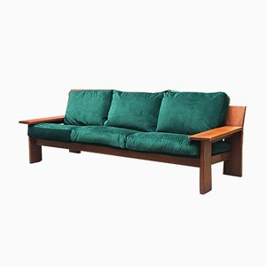 Italian Green Velvet and Wood Three-Seater Sofa from Pliny the Younger, 1970s