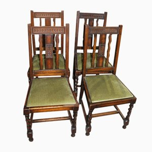 Oak Barley Twist Dining Chairs, 1940s, Set of 4