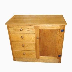 Antique Golden Oak Dresser Base with Drawers, 1900s