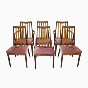 Walnut Dining Chairs in Pink from G-Plan, 1960s, Set of 6