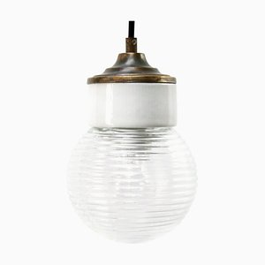 Mid-Century Vintage Industrial White Porcelain, Ribbed Clear Glass, and Brass Pendant Lights