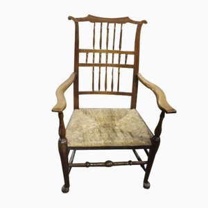 Antique Ash Spindle Back Carver Chair with Rush Seat, 1900s