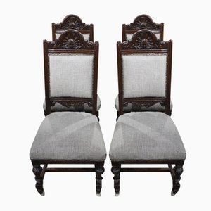 Dark Walnut Highback Chairs in Grey, 1920s, Set of 4