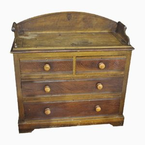 Antique Scrumbled Finish Pine Chest of Drawers with Back, 1900s