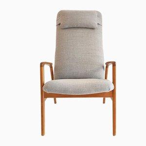 Mid-Century Scandinavian Beech Reclining Armchair