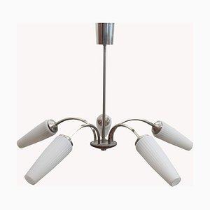 Lampe à Suspension Vintage en Chrome et Verre Opalin, 1960s