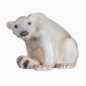Antique Danish Porcelain Polar Bear Figurine by Dahl Jensen for Bing & Grøndahl
