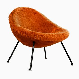 Mid-Century Orange Flokati Cover Lounge Chair by Fritz Neth for Correcta, 1950s