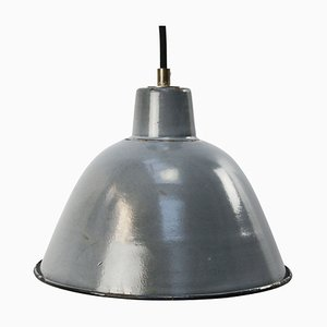 Mid-Century Vintage Industrial Gray Blue Enamel Pendant Light