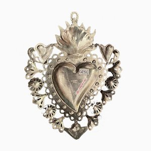 Antique Flaming Heart in Brass