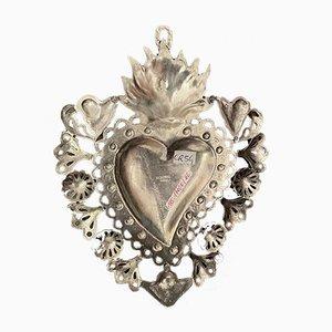 Coeur Flaming Antique en Laiton