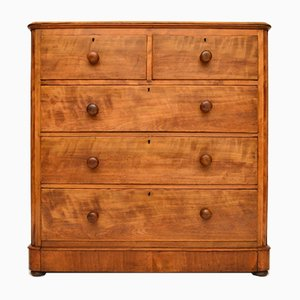 Large Antique Victorian Satinwood Chest of Drawers