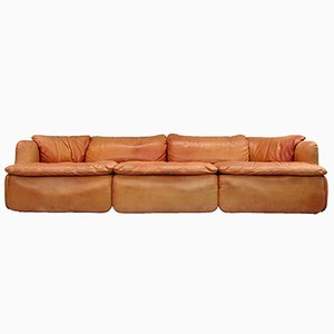 Italian Leather Tasty Sofa by Alberto Roselli for Saporiti Italia, 1970s