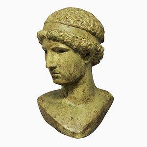 Testa ellenistica a grandezza naturale in pietra smaltata, anni '60