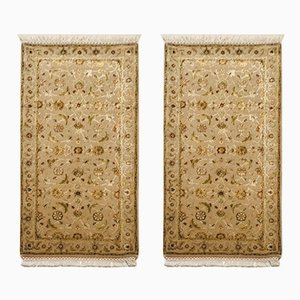Brown and Olive Green Wool & Silk Jaipur Carpets, 1983, Set of 2