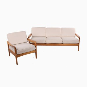Scandinavian 3-Seater Sofa and White Armchair, 1960s