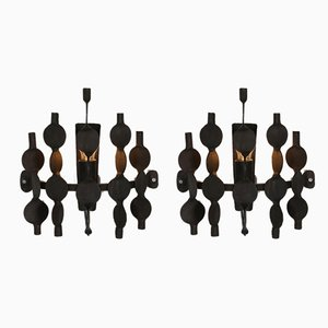 Brutalist Forged Iron Wall Sconces, 1970s, Set of 2