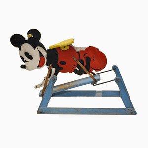 Juguete inglés oscilante de madera con micrófono Tri-Ang de Mickey Mouse de Lines Bros Ltd, años 40