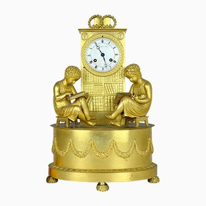 19th Century French Gilt Bronze Pendulum Library Clock from Tavault