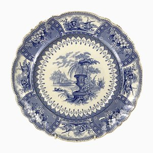 English Blue and White Stoneware Canova Pattern Dinner Plate by Thomas Mayer, 1830s