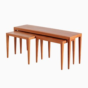 Mid-Century Teak Nesting Tables by Severin Hansen for Haslev Møbelsnedkeri, 1950s, Set of 3