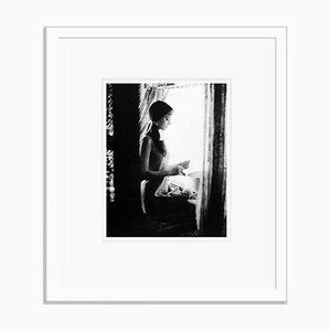 Audrey Hepburn Archivdruck in Weiß