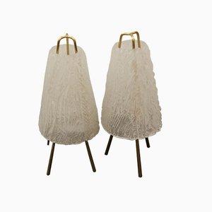 Lámparas de mesa de cristal de hielo de Kalmar, años 50. Juego de 2