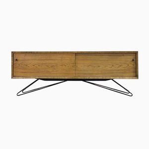 Mid-Century Modern Long Scandinavian Ash Sideboard with Metal Base, 1960s