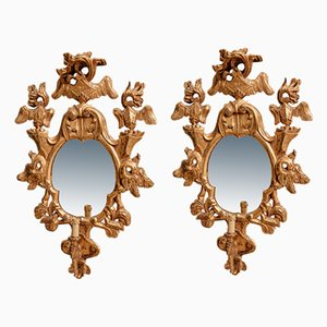 18th Century Golden Wood Mirror Sconces, Set of 2