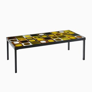 Mid-Century French Ceramic Planètes Coffee Table by Roger Capron, 1960s