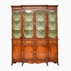 Yew Wood Sheraton Style Breakfront Bookcase, 1950s