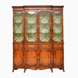 Yew Wood Sheraton Style Breakfront Bookcase, 1950s