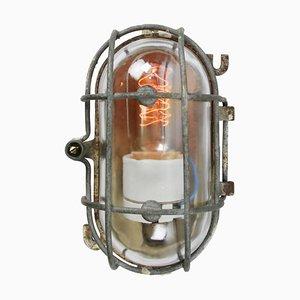 Industrielle Mid-Century Industrie Wandlampen aus Gusseisen und Klarglas